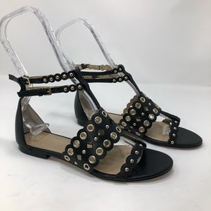 Ann Taylor Leather Grommet Double Strap Sandals